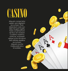 Casino Poker poster or banner background or flyer vector image vector image