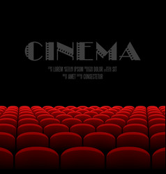Cinema auditorium with black screen and red seats vector