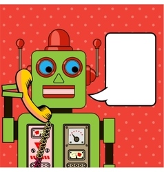 Cool robot talking on the phone pop art poster vector