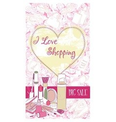 Decorative design card with cosmetics vector image vector image