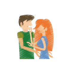 Drawing couple romance lovely vector