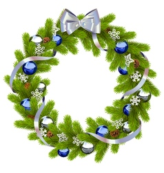 Fir wreath with blue decorations vector