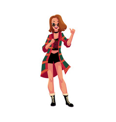 Girl in 1990s grunge style clothes at retro disco vector