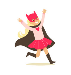 girl pretending to have super powers dressed in vector image