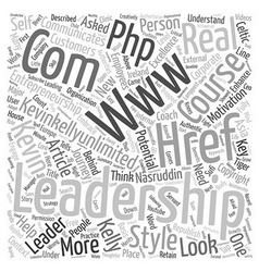 Leadership styles text background wordcloud vector
