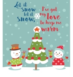 Loving couple of snowmen vector image vector image