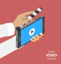 Mobile video creating flat isometric vector