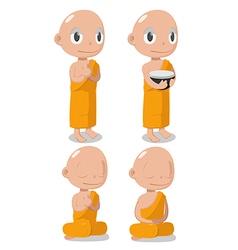 Monk Buddha Cartoon Cute Character vector image vector image