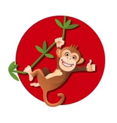 Monkey hanging on the tree vector image