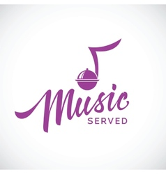 Music served concept icon with hand lettering vector image