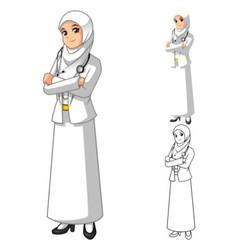 Muslim woman doctor wearing white veil or scarf vector
