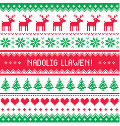 nadolig llawen - merry christmas in welsh greeting vector image vector image