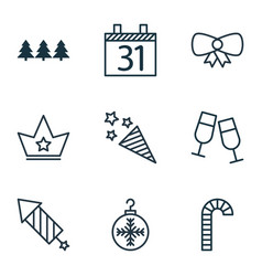 Set of 9 new year icons includes champagne vector