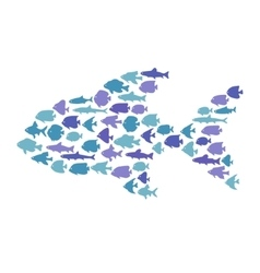 Simple plain style big fish mosaic vector