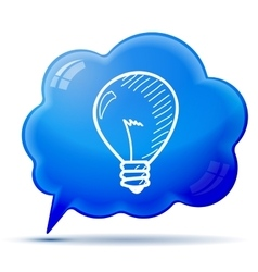 Symbol idea on blue bubble background hand-drawn vector