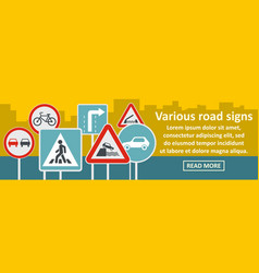 various road sings banner horizontal concept vector image