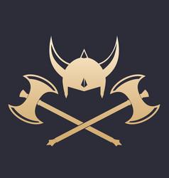 Vikings helmet and crossed axes vector