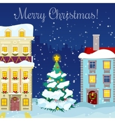 Merry christmas cityscape with snowfall houses vector