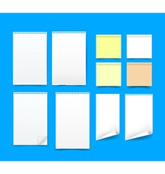 Set of blank paper on blue background eps 10 vector