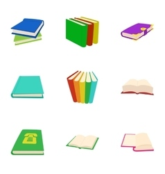 Library icons set cartoon style vector