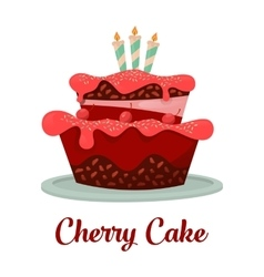 Dessert food or cherry cake with candles vector