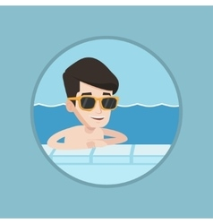 Smiling young man in swimming pool vector