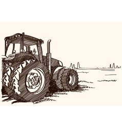 Tractor on a field freehand linear ink vector