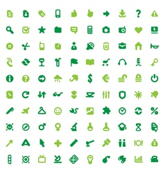Green icons and signs vector image
