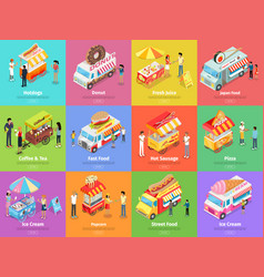 Street food stores isometric banners vector