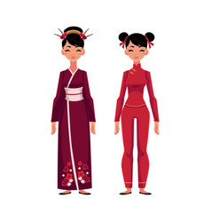 Two chinese women in traditional national costumes vector