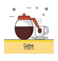 Colorful poster of coffee shop with kettle and vector