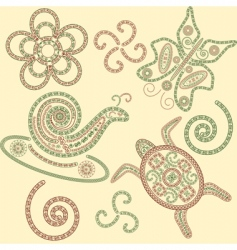 henna animals vector