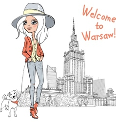 beautiful fashion girl in Warsaw vector image