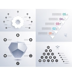 Set of infographics 3d shape pyramid vector