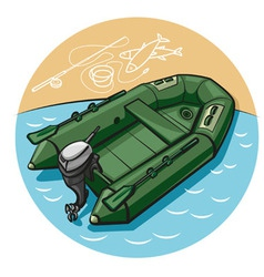 Inflatable rubber boat vector