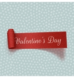 Valentines day realistic red scroll textile ribbon vector