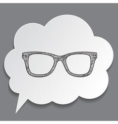 Hand-drawn glasses in dream bubble isolated vector
