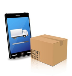 delivery with smart phone vector image