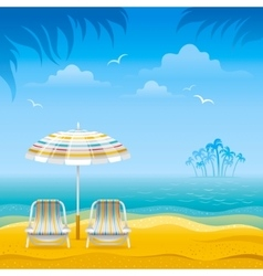 Beach background with blue sea stripped beach vector