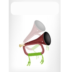 A musical bugle with a white banner vector