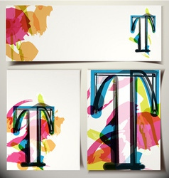 Artistic greeting card letter t vector