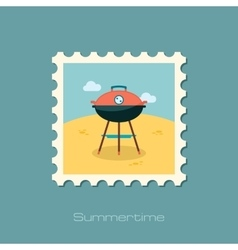 Barbecue grill stamp Summer Holiday vector image vector image