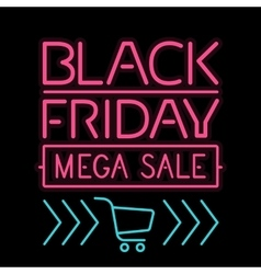 Black friday poster glowing light letter on black vector