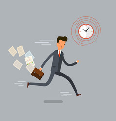 businessman running and hurry up vector image vector image
