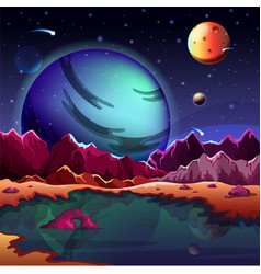 cartoon planet landscape or scenery terrain vector image vector image