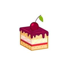 Cherry cake isolated on white background vector image