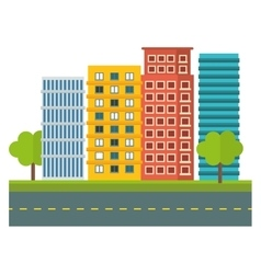 city scene and buildings with trees image vector image
