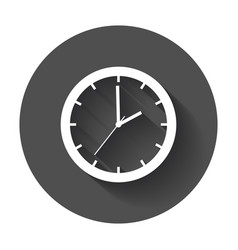 clock icon flat watch with long shadow vector image
