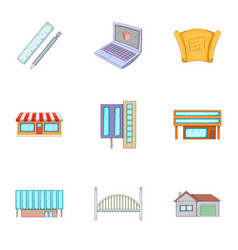Construction work icons set cartoon style vector