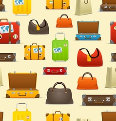 Different color travel bags collection Seamless vector image
